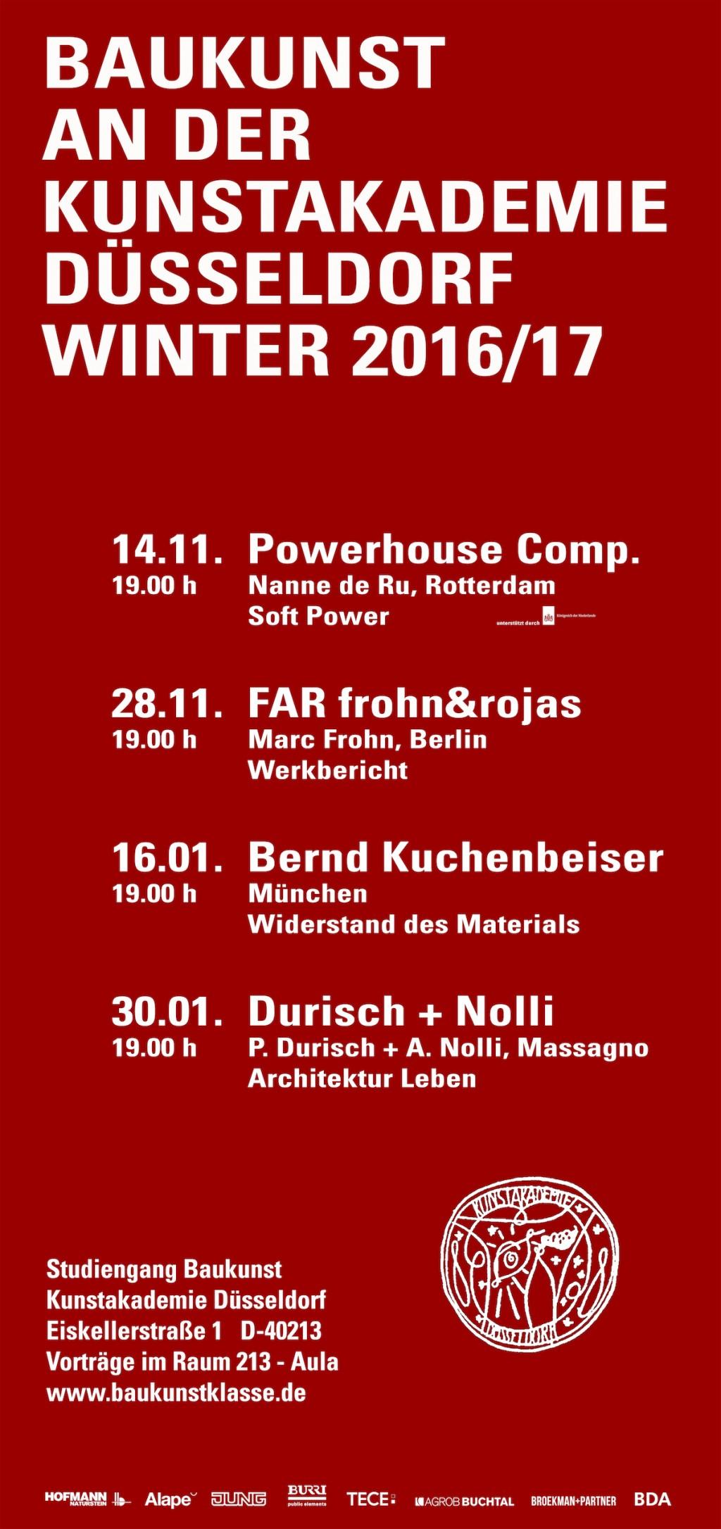 Broekman+Partner Baukunst Kunstakademie Düsseldorf Wintersemester 2016/17