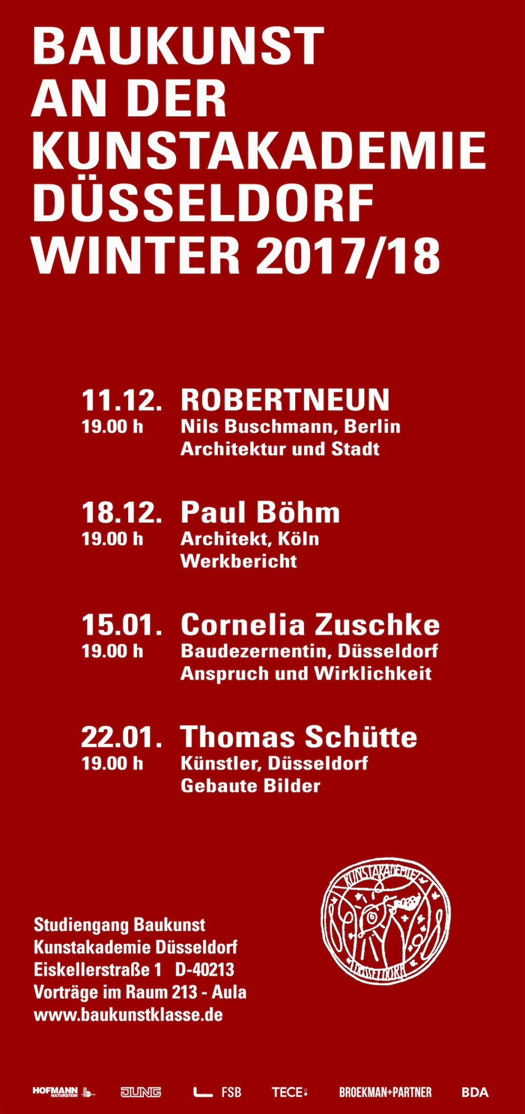 Broekman+Partner Baukunst Kunstakademie Düsseldorf Wintersemester 2017/18