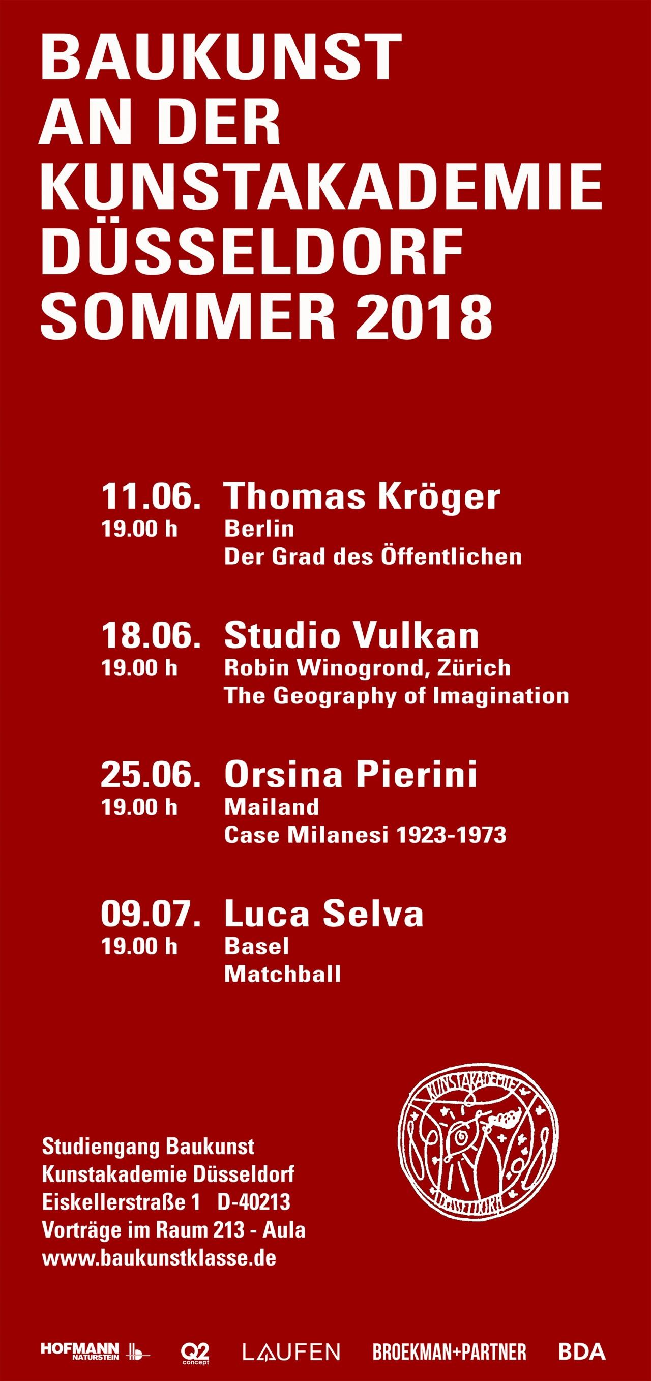 Broekman+Partner Baukunst Kunstakademie Düsseldorf Sommersemester 2018